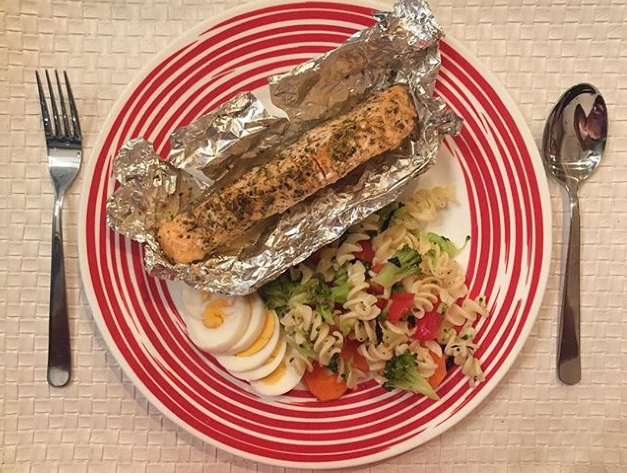 Baked Salmon and Pasta Salad