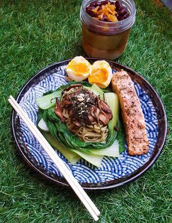 salmon cha soba salad