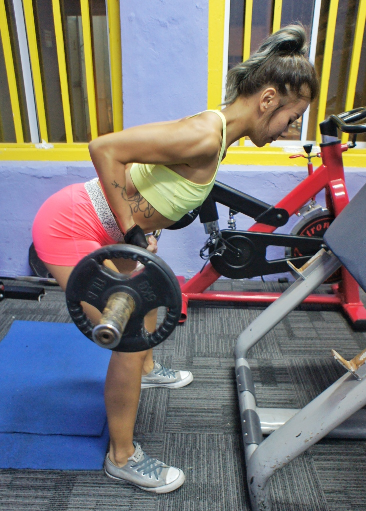 Becki Loh doing bent over row